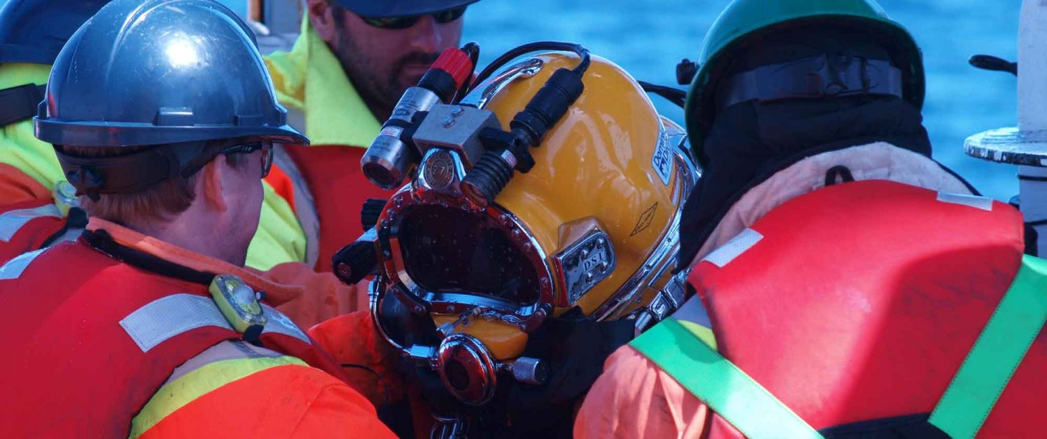Diver preparing offshore